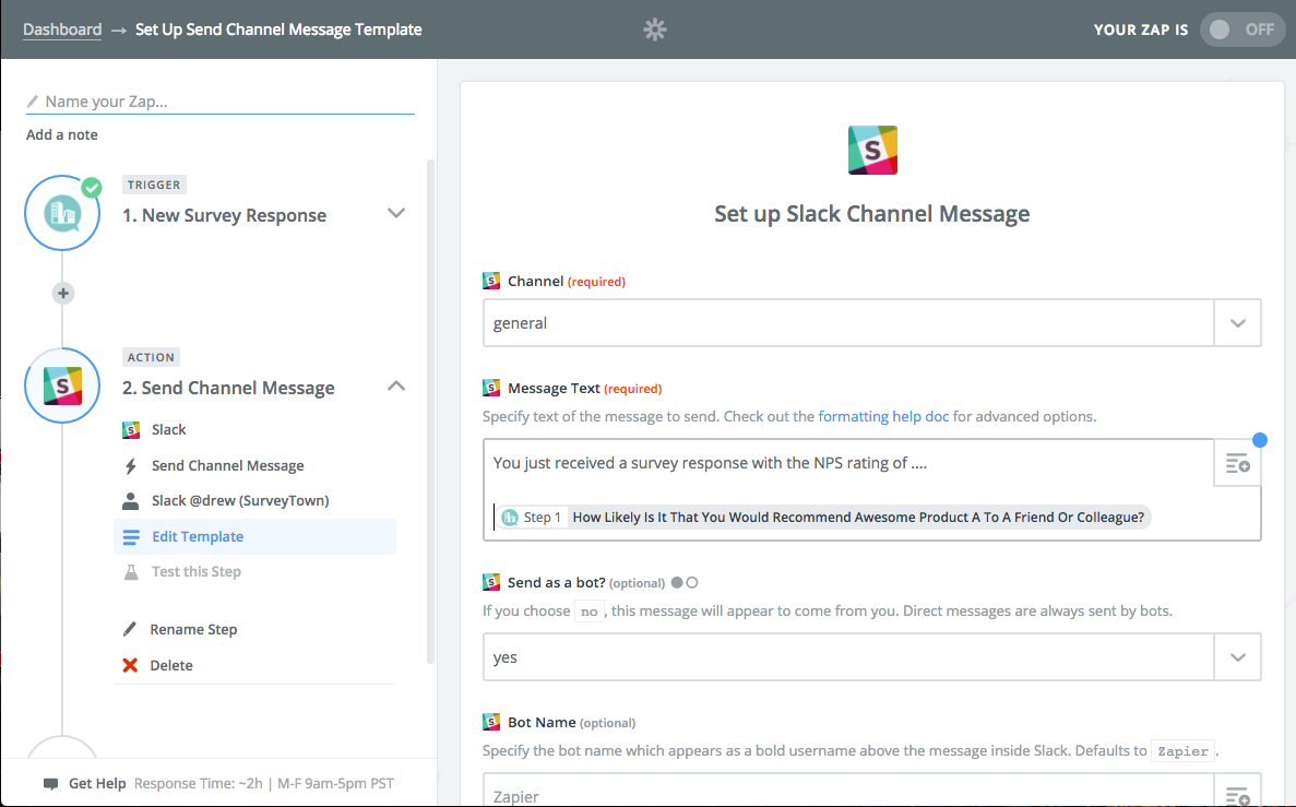 Create a Slack action with SurveyTown trigger in Zapier